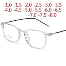 Kwadratowe wykończone okulary dla osób z krótkowzrocznością okrągłe kobiety mężczyźni metalowe rurki krótkie okulary korekcyjne recepta-0 5 -1 0 -1 5 -2 0 do-9 0 tanie tanio BINSYSU MIRROR WOMEN Unisex Jasne NONE Z poliwęglanu CN (pochodzenie) Z tworzywa sztucznego OKULARY DO CZYTANIA J8092caomeng