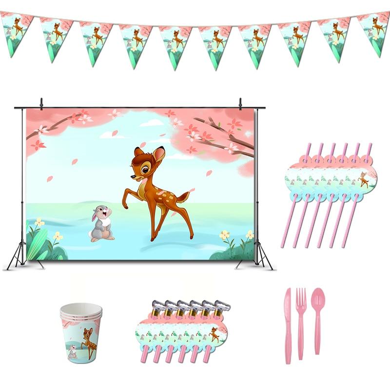 Детский душ Бэмби День Рождения украшения лес лесное животное баннер для вечеринки маленькие олени тема сувениры бумажные чашки
