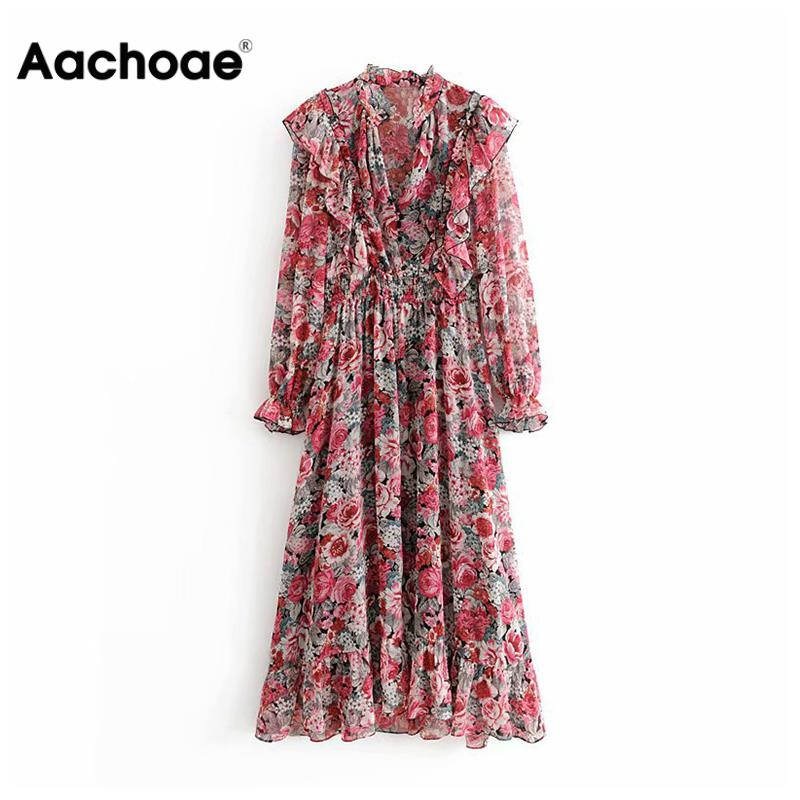 Stylish Floral Print Women Ruffled Dress Boho Petal Sleeve Ladies Pleated Long Dress Female Stretch Waist Party Dresses
