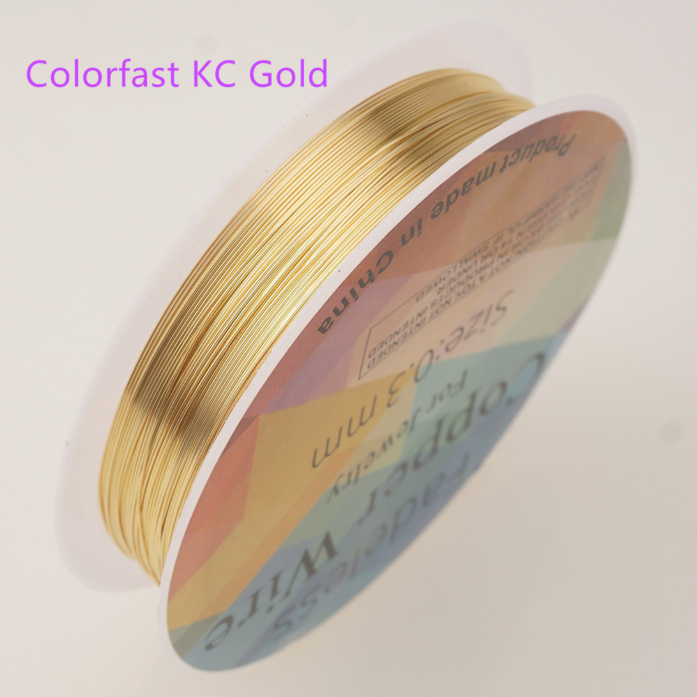 Четырехслойный разноцветный комбинезон серебро Медный провод для браслет Цепочки и ожерелья самодельные Украшения, Аксессуары 0,2/0,25/0,3/0,5/0,6/1,0 мм ремесло Бисер провода HK018 - Цвет: Colorfast kc gold