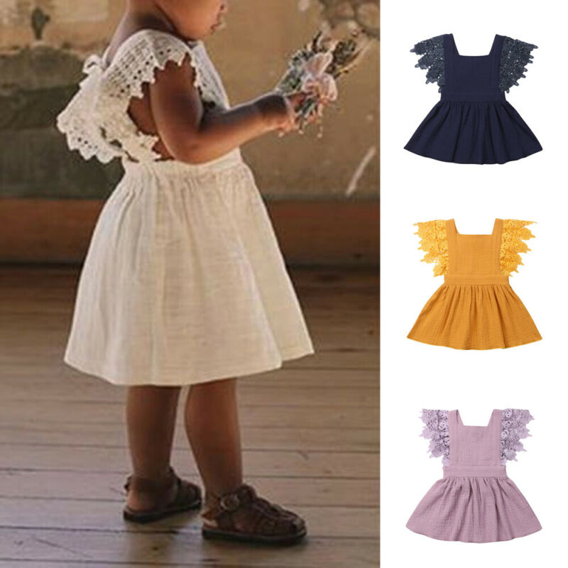 Toddler Kids Baby Girls Ruffle Cotton Linen Elegant Princess Party Dress Clothes