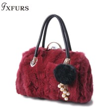 2019 New Rex Rabbit Fur Handbags Women Fashion Winter Wrist Sheep with Diamond Rabbit Fur Balls Single Shoulder Bags Lady Fur цена