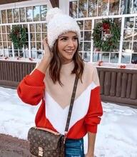 Женский свободный вязаный свитер пуловеры с длинным рукавом