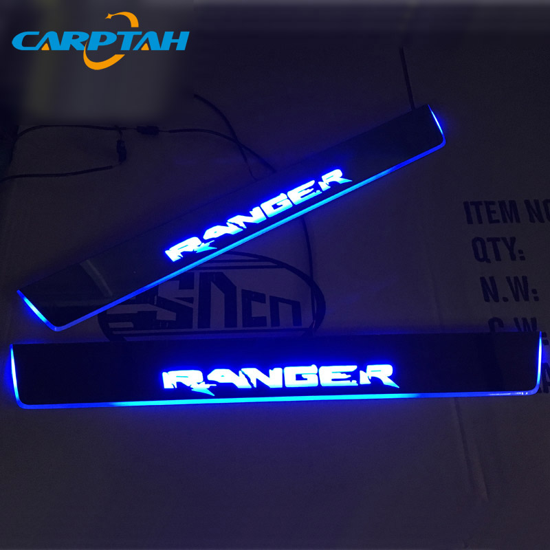 CARPTAH Trim Pedal Car Exterior Parts LED Door Sill Scuff Plate Pathway Dynamic Streamer light For Ford Ranger T7 T8 2015 - 2019