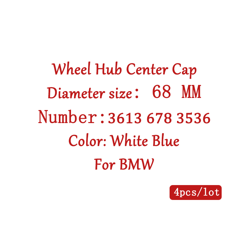 4pcs 68mm Car Wheel Hub Center Caps Rims Emblem Covers for BMW E90 F10 F30 E60 E92 X1 X3 X4 X5 E61 E93 E63 F01 GT xDrive 528i image