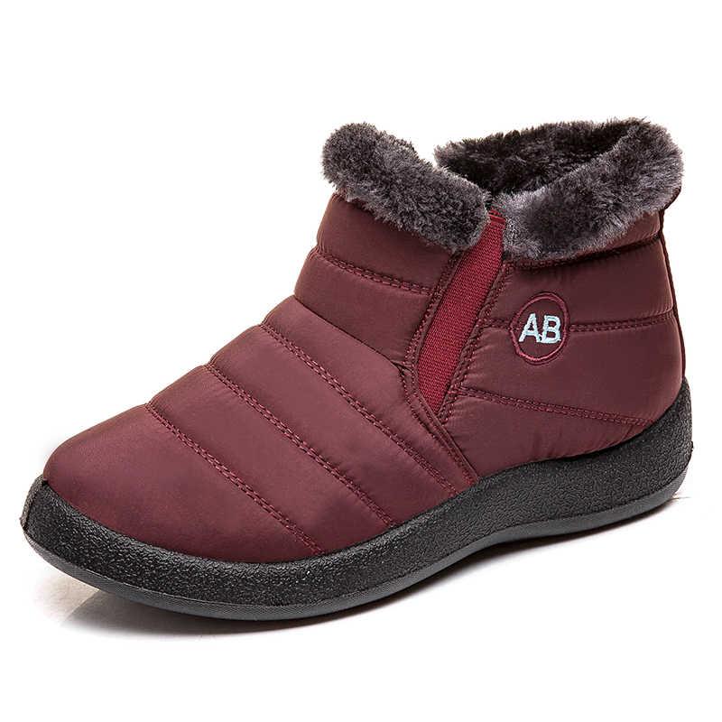 Untuk Wanita Plus Ukuran 43 Tahan Air Salju Boots Slip Pada Musim Dingin Sepatu Wanita Hangat Berlapis Sepatu Bot Sepatu Semata Kaki Pasang Kaos Mujer Musim Dingin alas Kaki