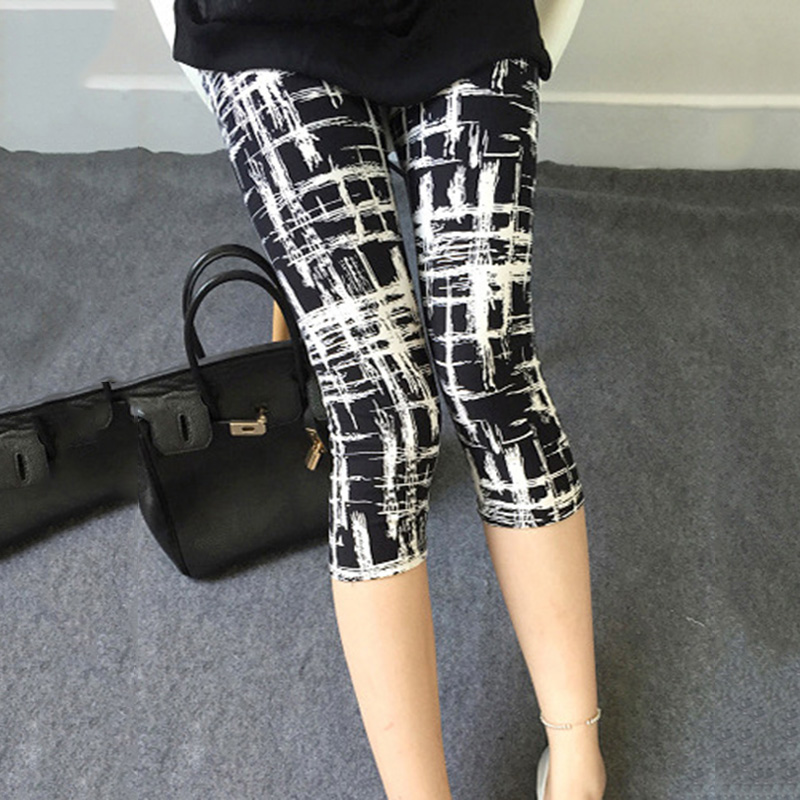 YGYEEG Women Pants Trousers For Ladies New Black And White Vertical Striped Printed Leggings Houndstooth Casual Calf-Length Pant