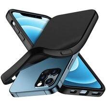 Ultra fino caso preto fosco para iphone 12 mini 11 pro max 11pro xs x xr 7 8 plus se 2020 iphone12 silicone capa protetora
