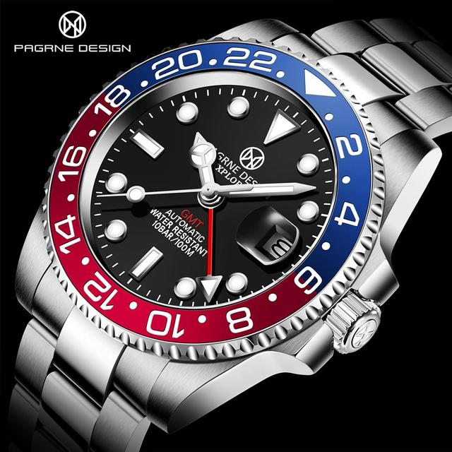 PAGRNE DESIGN Fashion Mens Watches with Stainless Steel Top Brand Luxury Sports Automatic Mechanical Watch Men Relogio Masculino 1