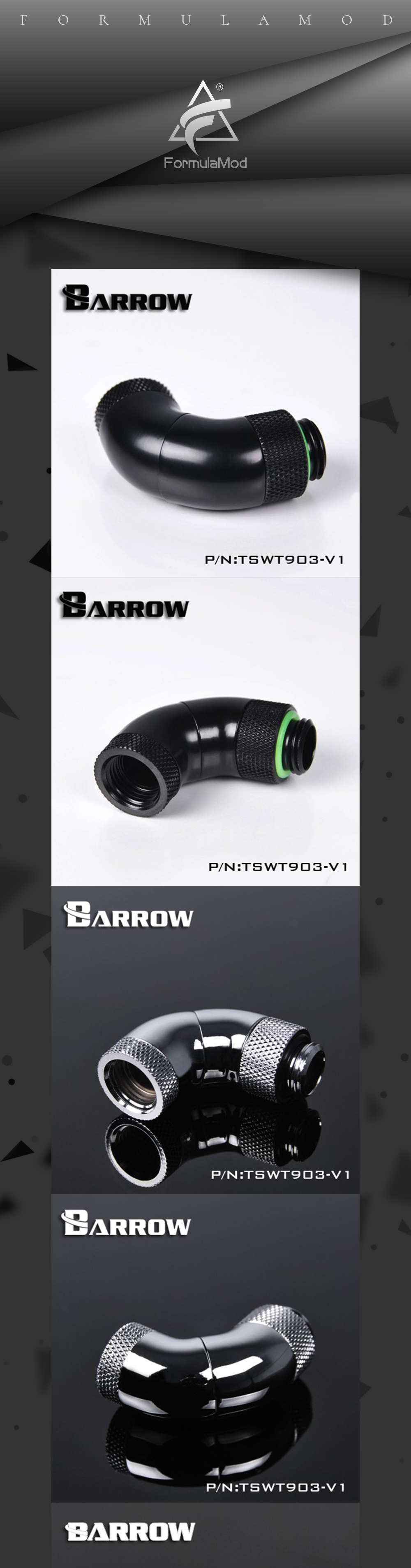 "Barrow G1/4"" White Black Silver Three Rotary 90-Degree 360 degree rotatable IG1/4"" Extender water cooling fittings TSWT903-V1"