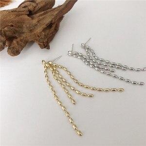 Brincos longos do parafuso prisioneiro da borla moda feminina contas de metal brinco senhoras elegante prata cor ouro orelha jóias