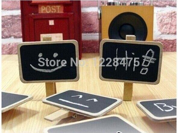 40pcs/lot Mini Wood Blackboard Tabletop Chalkboard Blackboard Writing Pad Gift School Offices Clip Board Supplies