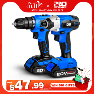 Image 1 - 20V Cordless Impact Drill Cordless Screwdriver Optional Two Piece Set 2000mAh Wireless Rechargeable Screwdriver By PROSTORMER