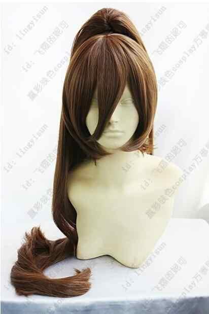 Darmowa wysyłka pracy!! Moda brązowy Cosplay imprezowa peruka włosy długie klip kucyk