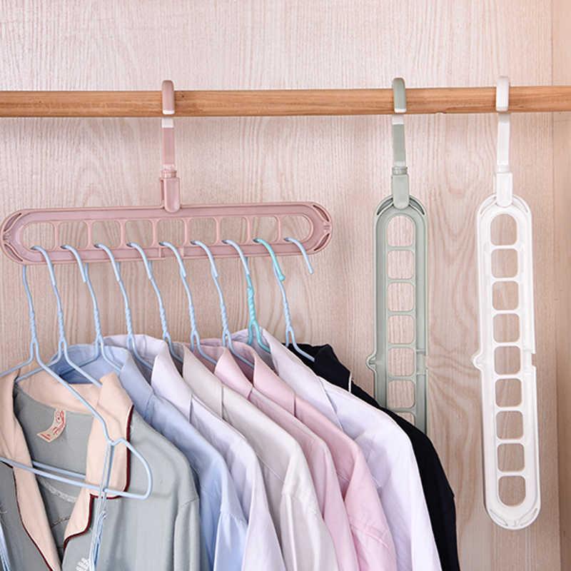 Multi-porta de plástico roupas suporte rack de secagem 9 camada cabide suporte multifunções girar espaço economia organizador de armazenamento