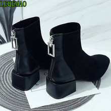 Female shoes in autumn and winter new female boots thin square shoes Joker Martin short thick boots with Boots(China)