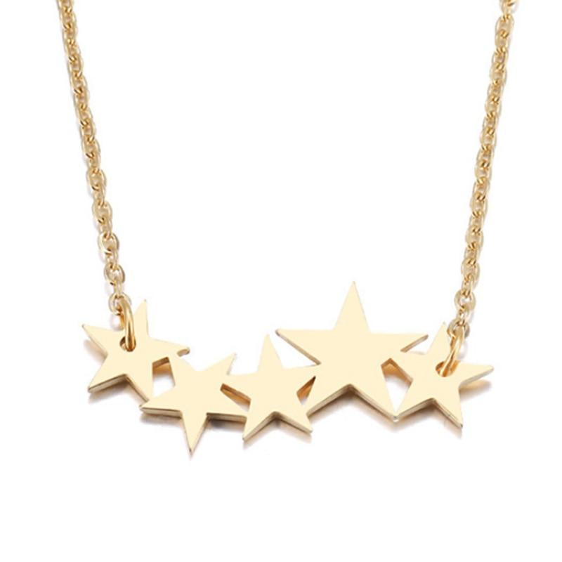 Five Star Women Necklace Personalized Rollo Chain Shinny Star Pendant Jewelry Necklace in Choker