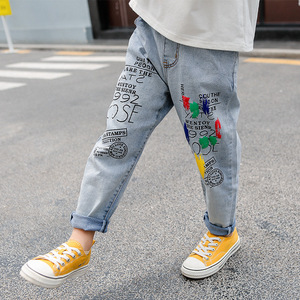 Image 5 - High Quality Color Paint Kids Jeans For Girls Boys Letter Jeans For Boys Girls Autumn Childrens Clothing Kids Jeans 3 13 Ages