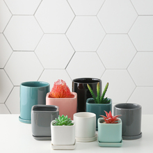 Nordic simple ceramic creative ins wind home ventilation balcony straight, round, square, with tray small flower pot boutique