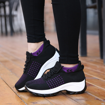 Women Ladies Summer Fashion Breathable Mesh Vulcanize Platform Flats Lace Up Sock Tenis Casual Running Female Sneakers Shoes