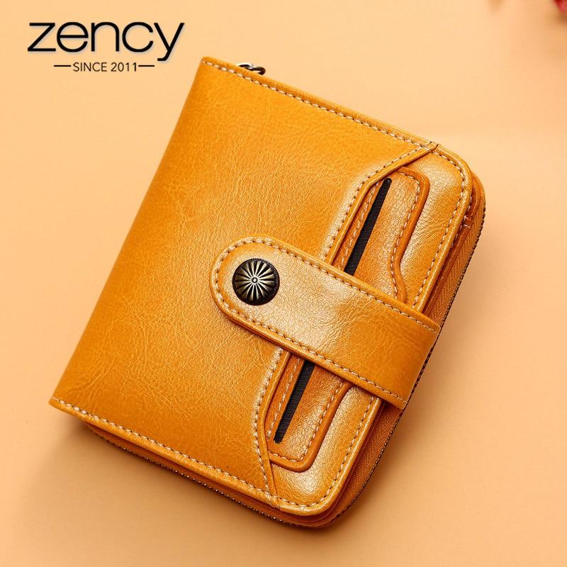 Zency 100% Genuine Leather Fashion Women Wallets Zipper Hasp Lady Short Purse Pretty Coin Pocket Card Holders Yellow Blue