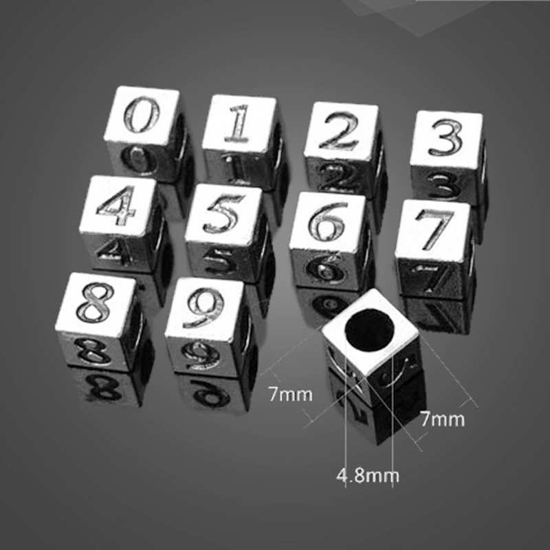 30 PCs - Antique Silver Brass Arabic Numerals <font><b>0</b></font> 1 <font><b>2</b></font> <font><b>3</b></font> 4 <font><b>5</b></font> 6 7 8 9 Figures Cube Cubic Beads Charms Number Pendant image