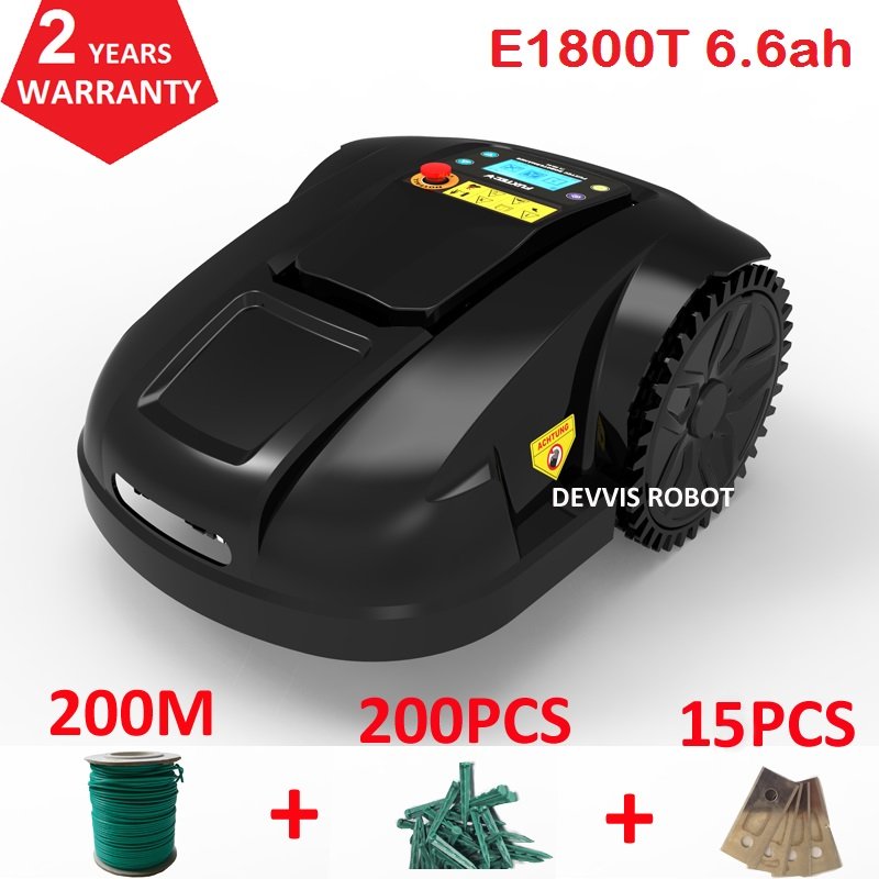 Spain Warehouse No Tax Robot Lawn Mower E1800T With 6.6ah Lithuium Battery With 200m Wire+200pcs Pegs+15pcs Blade