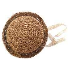 Летняя детская соломенная шляпа ручной работы для девочек, кружевная ветрозащитная пляжная шляпа с широкими полями, милая широкополая шляпа цвета хаки