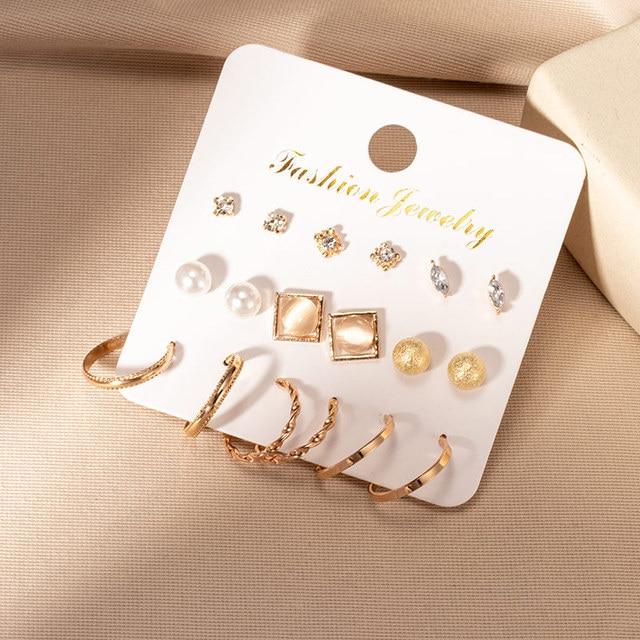 Brincos femininos conjunto retro coreano geométrico brincos para mulheres coreano ouro pequeno metal pérola brinco 2021 tendência jóias 4