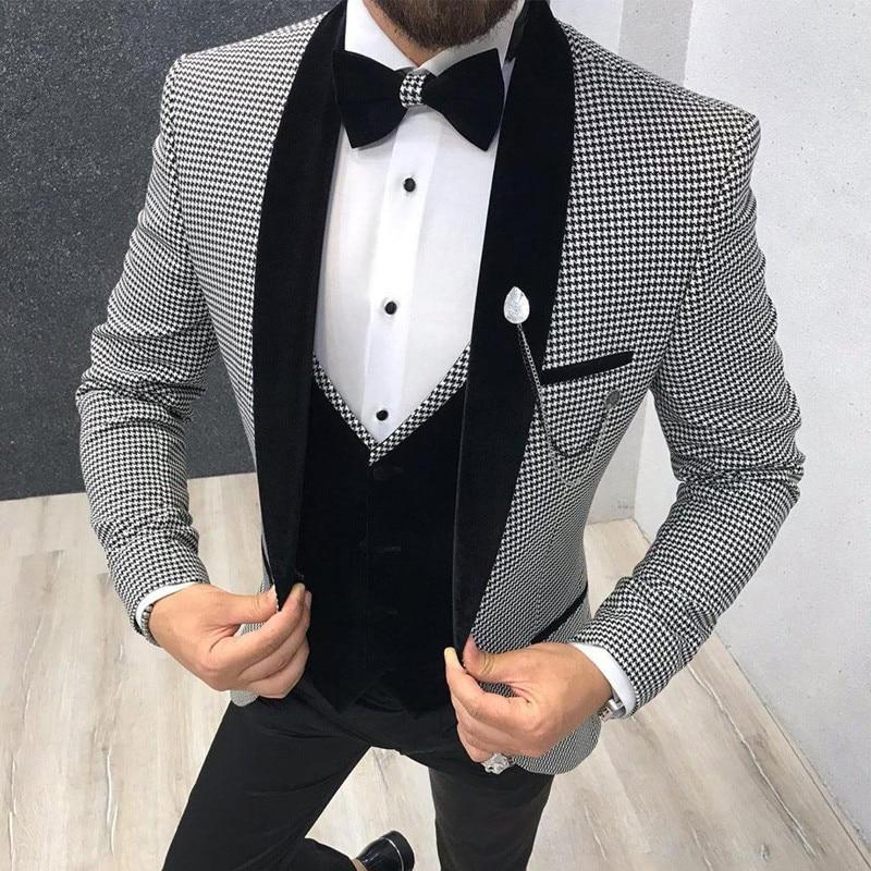 Houndstooth Men Suit Slim Fit For Dinner Party Prom Tailor Made Suit Groom Wedding Tuxedo Best Man 3 Piece Jacket Pants Vest