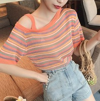 Weep Yafeng Trimmed Collar And off Shoulder Rainbow Stripes T shirt WOMEN'S Short Sleeved Thin Viscose Knitted Jacket 2019 New S