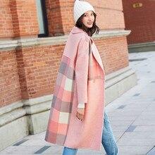 Womens  Plaid Coat Autumn Winter pink Wool Blends Vintage Warm Jackets Female Oversized Loose Long Woolen