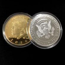 10PCS lot Creative Souvenir Gold Plated Donald J Trump Of US President Donald Trump Silver Gold Plated EAGLE Commemorative Coin