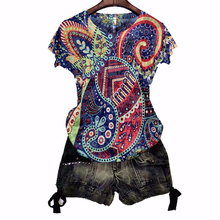 Fashion vintage print t shirt women 4XL 2020 summer short sleeve graphic tees sl