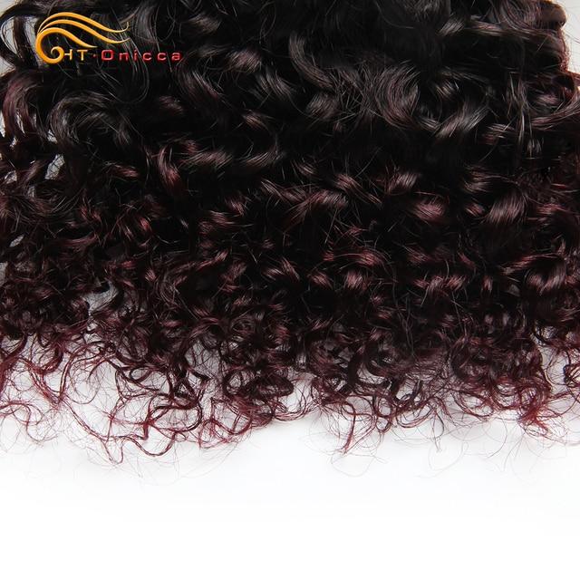 Lote de 6 unids/lote de mechones rizados peruanos de pelo humano ondulado doble trenzado Remy Funmi Hair T1B 30 99J, extensión de pelo de color Htonicca