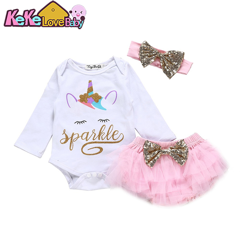 Newborn Baby Girls Clothes Sets Unicorn Print Tops Romper Shorts Headbands 3pcs Cute Summer Outfits Infant Girl Clothing Set