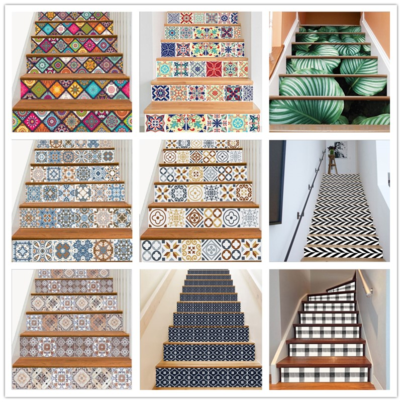 6PCS Removable Stairs Sticker Step Self-Adhesive Ceramic Tiles PVC Stair Wallpaper Decal Vinyl Stairway Home Decoration 18x100CM