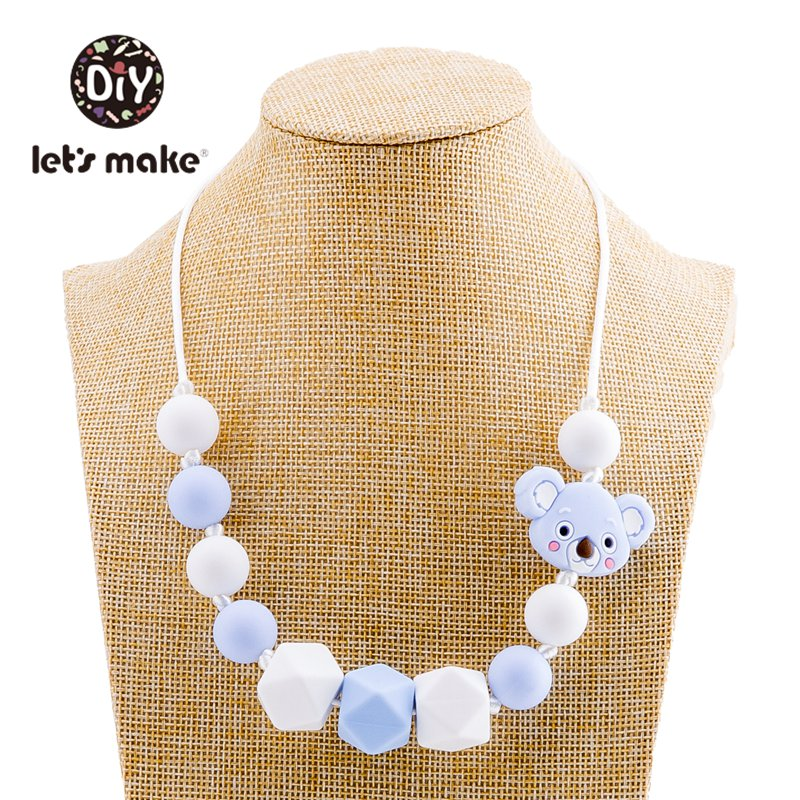 Let's Make 1pc Baby Teething Necklace Food Grade Hexagon Silicone Beads Fox Sheep Teether Bpa Free Baby Personalized Necklace