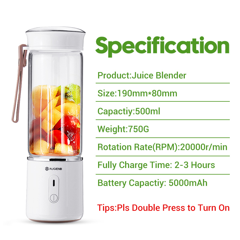 Portable Smoothie Maker Blenders Mixer USB Rechargeable for Home Travel 500ml Electric Fruit Juicer Glass Mini Hand