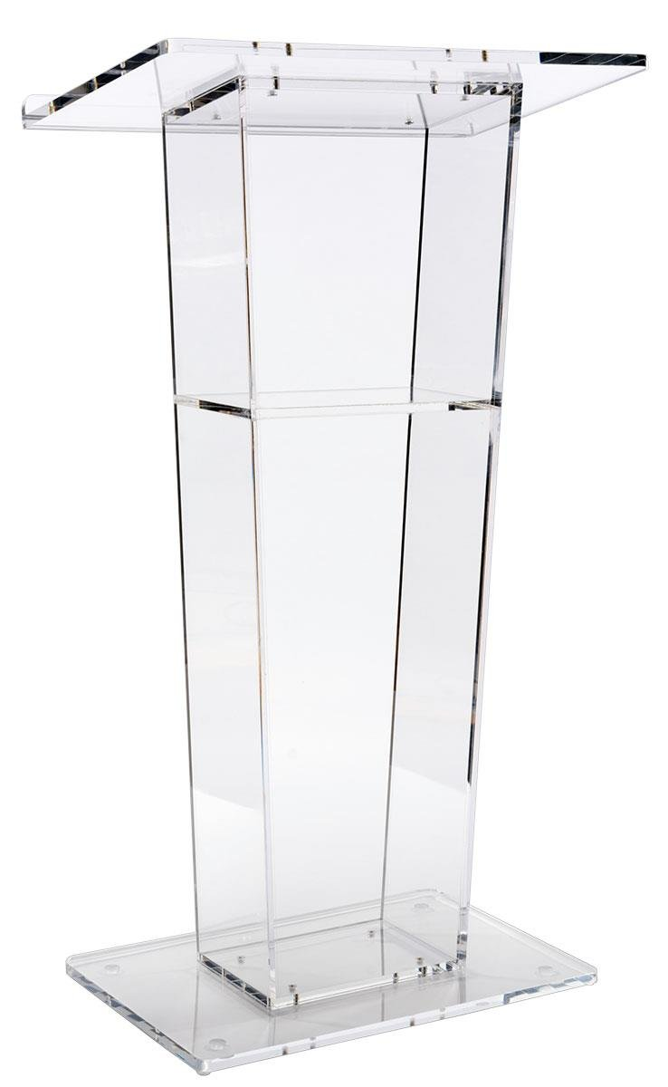 Lectern Podium, Clear Acrylic, 47 Inch Tall With Inner Shelf, Rubber Feet, 24x 15.8 Inch Top Surface