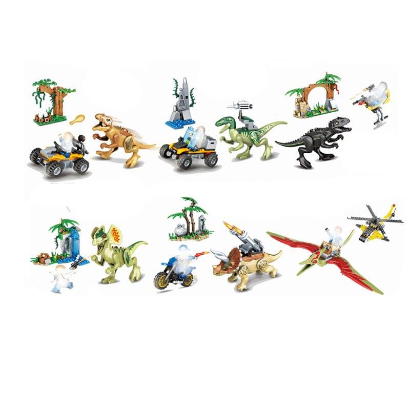 Jurassic Dinosaur Forest Tyrannosaurus Rex Tyrannosaurus Dragon Pterosau Set Building Block Toy Figure World Dino Brick B709