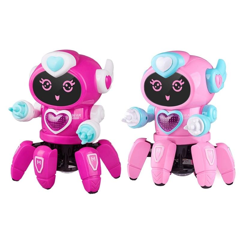 Музыкальные детские игрушки с шестью когтями, танцующий ходячий робот для детей с музыкой светодиодный светодиодными цветными мигающими о...