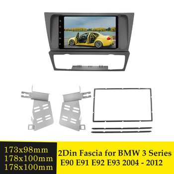 2Din Car Radio Fascia Fascias Panel Frame CD DVD Dash Audio Interior Cover Bezel Trim For BMW 3 Series E90 E91 E92 E93 2004-2012 image