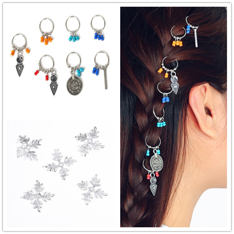 5-10 Pcs/set Coin Ring Leaves Pendant Rings Set Hair Clip Headband Hair Accessories Personality DIY Pendant Hair Clip Set