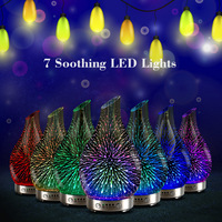 3D Fireworks 100ml Glass Aromatherapy Humidifier Aroma Essential Oil Diffuser Ultrasonic Humidifier with 7 color LED Light