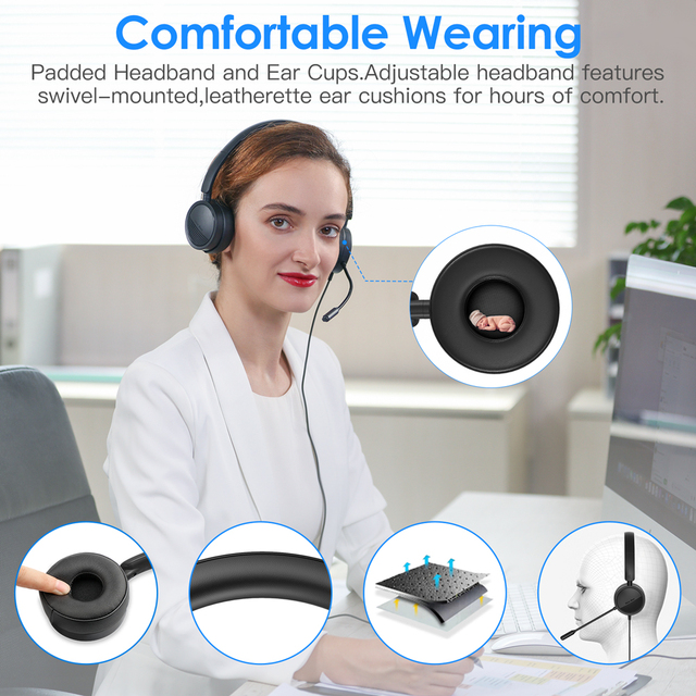 New Bee USB Headset with Microphone for PC 3.5mm Business Headsets with Mic Mute Noise Cancelling for Call Center Headphones 2