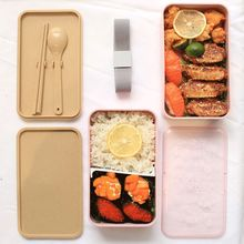 2 Layers Lunch Box  Wheat Straw Material Bento Microwavable Dinnerware Food X4YE