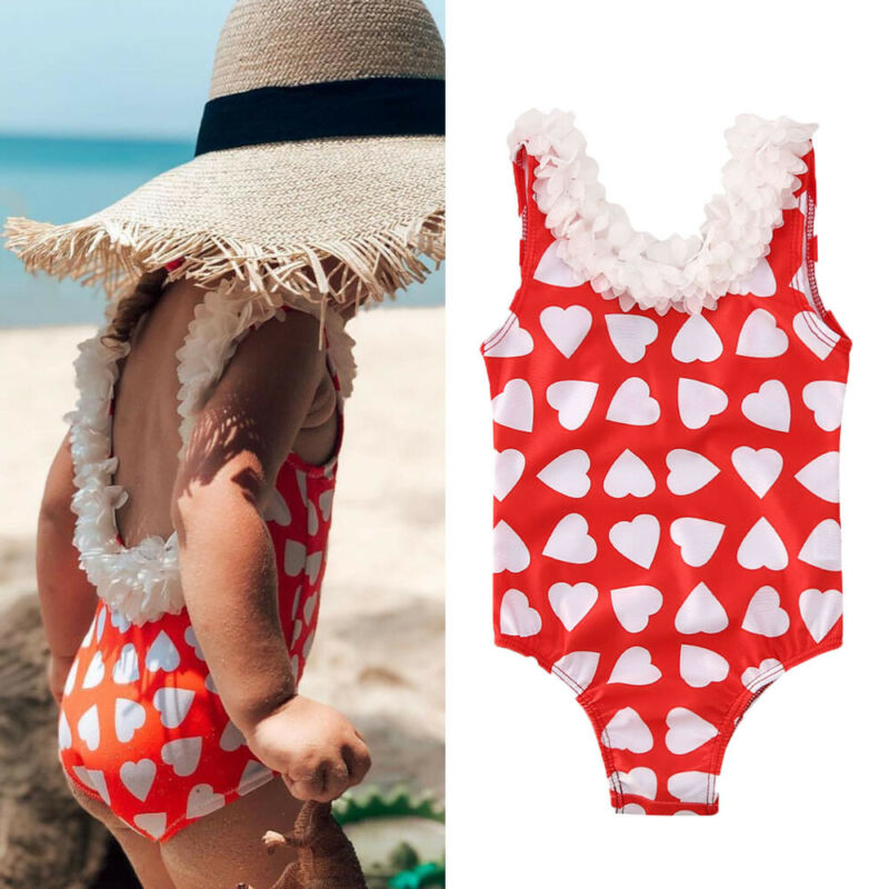 1-5 Years Baby Girl Swimsuits Ruffle Sleeveless Swimwear For Girls Red Heart Print One Piece Swimsuit For Girl Kids Bathing Suit