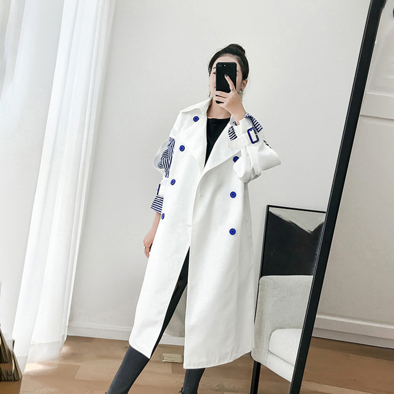 Striped Patchwork Long   Trench   Coat Women Double-breasted Winter Coat Plus Size Overcoat Autumn Korean Windbreaker Pocket Loose