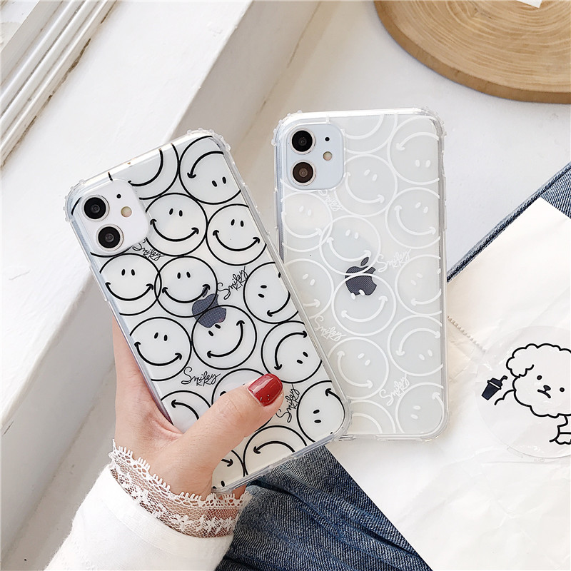 Cute Smiley Painting Clear Phone Case For Iphone 11 Pro